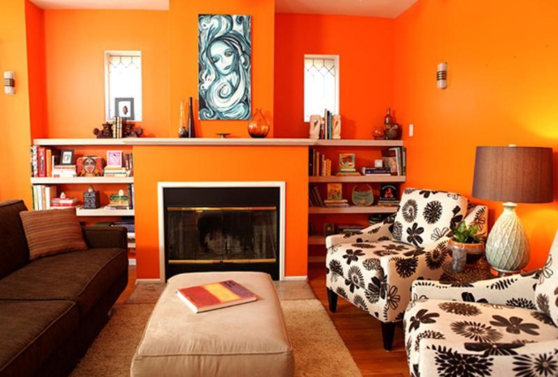 15 Lively Orange Living Room Design Ideas - Rilane - orange and brown living room