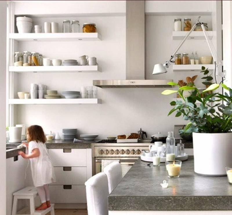 15 Beautiful Kitchen Designs with Floating Shelves - Rilane - kitchen shelving ideas