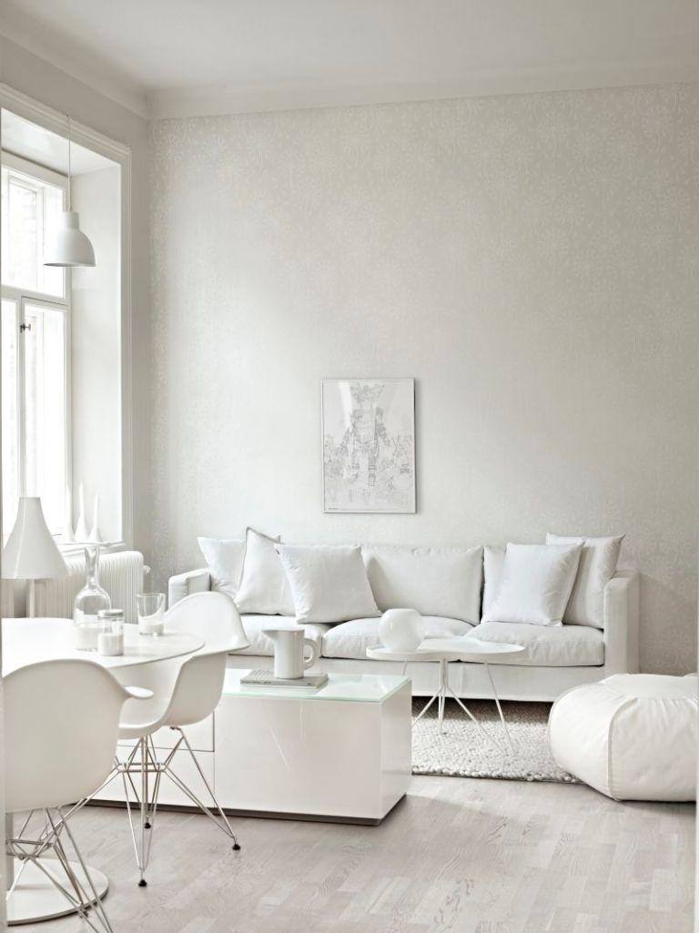 Charming all white living room