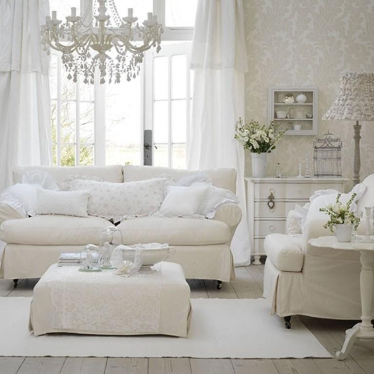 15 Serene All White Living Room Design Ideas - Rilane - all white living room