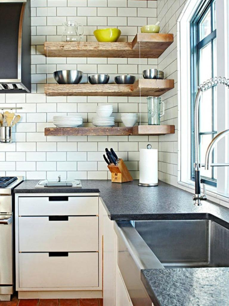 15 Beautiful Kitchen Designs with Floating Shelves - Rilane - rustic modern kitchen