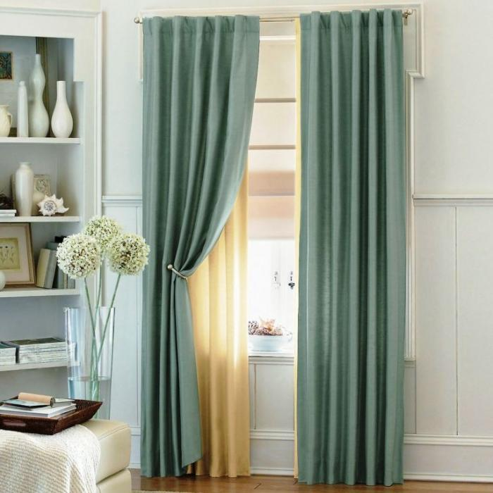 Blue Sheer Curtains One Pair Of Carolina Blue Color Sheer Swag - turquoise curtains for living room