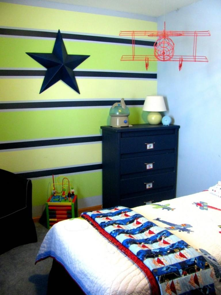 Interesting green and blue boy s bedroom