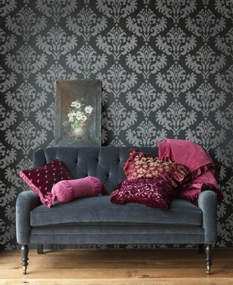Black Velvet Damask Wallpaper 30 Elegant And Chic Living Rooms With Damask Wallpaper