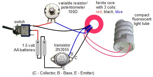 Joule thief circuit powering a compact fluorescent lightbulb