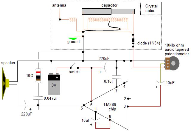 Schematic Wiring Diagram Crystal Radio Audio Amplifier Circuit