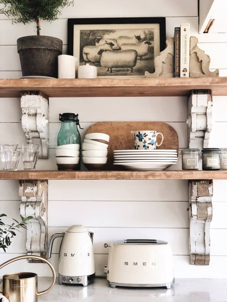 23 Farmhouse Shelf Decor Ideas That Are Both Functional And Gorgeous Rina Watt Blogger Home Decor Diy And Recipes