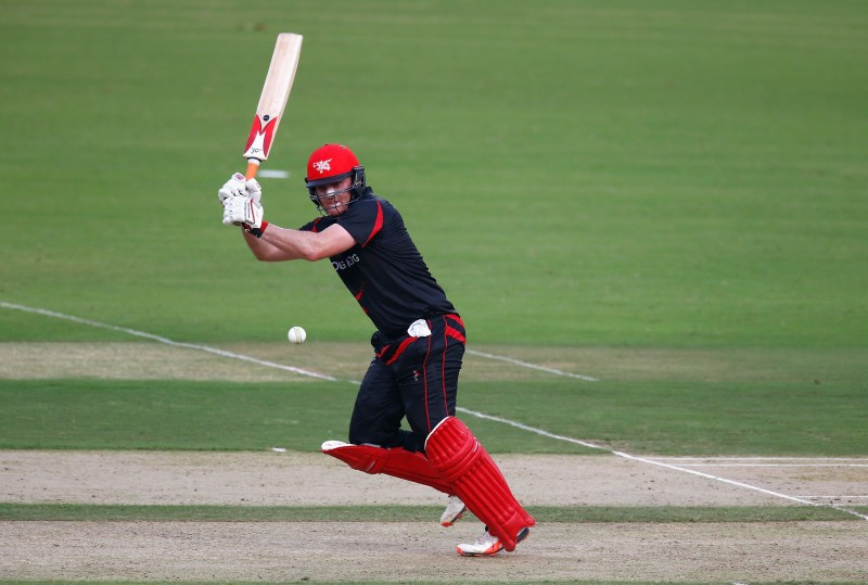 """""""NAGPUR, INDIA - MARCH 08: Jamie Atkinson of Hong Kong in action during the ICC Twenty20 World Cup Group B match between Zimbabwe and Hong Kong at the Vidarbha Cricket Association Stadium on March 8, 2016 in Nagpur, India. (Photo by Christopher Lee-IDI/IDI via Getty Images)"""""""