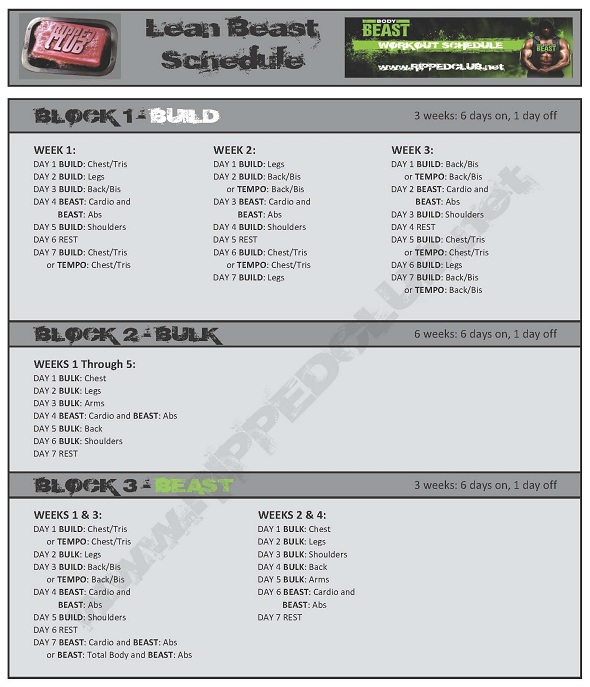 BODY BEAST Workout Schedule - Print Your BODY BEAST Workout - beast workout sheet