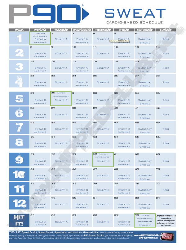 photograph relating to P90x Workout Schedule Printable called P90x Program Lean Calendar Calendrier Septembre 2016 Mignon
