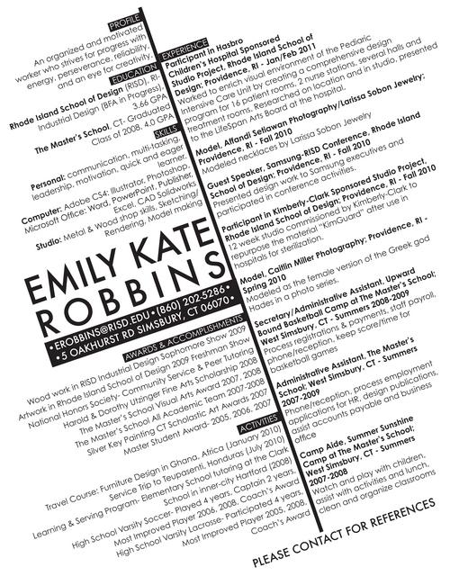 Digication e-Portfolio  Emily Robbins Industrial Design  Resume - industrial design resume