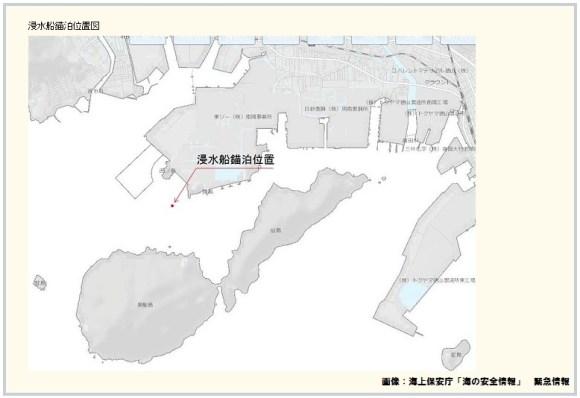 浸水船錨泊位置図