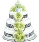 Green Zebra Diaper Cake