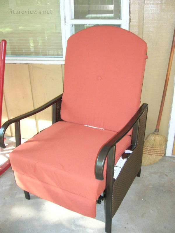 Extra Wide Textured Vinyl Outdoor Cushioned Recliner