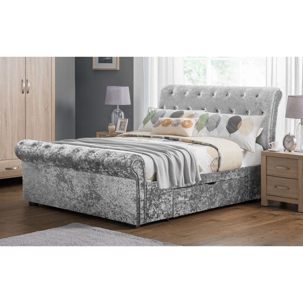Meubles Furniture Ireland Crushed Velvet Storage Bed Silver