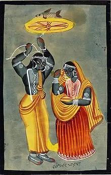 Arjuna and Draupadi in Mahabharat