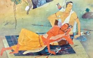 Parshurama sleeping in Karna's lap