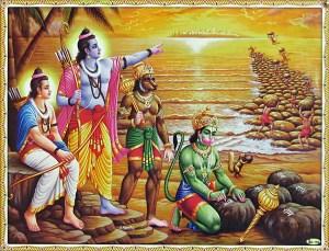 Buidling bridge to Lanka - Rama Laxman Hanuman and Vanaras