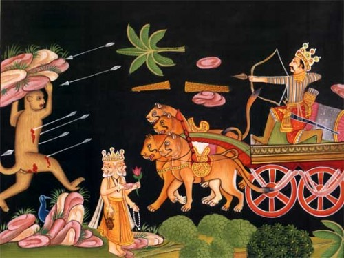 Indrajit causing havoc at Rama's army due to a boon from Brahma