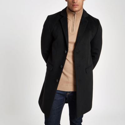 Langer Schwarzer Mantel Herren Black Button Down Overcoat