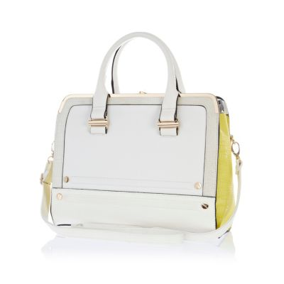 Weiße Tasche White Colour Block Metal Plate Square Bag