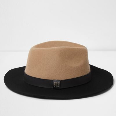 Hut Breite Krempe Camel Colour Block Wide Brim Fedora Hat