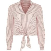 Pink stripe tie front shirt - Tops - Sale - women