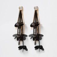 Black flower diamante drop earrings - Earrings - Jewellery ...
