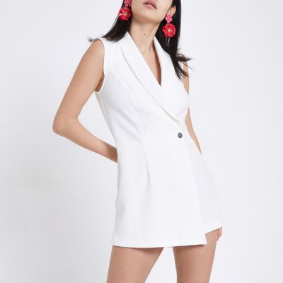 Playsuit Dames Witte Mouwloze Smoking Playsuit Met Overslag Playsuits