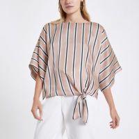 Pink stripe tie knot top - Tops - Sale - women