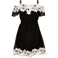 Girls black lace bardot dress - Party Dresses - Dresses ...