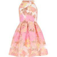 Girls pink metallic jacquard prom dress - Party Dresses ...