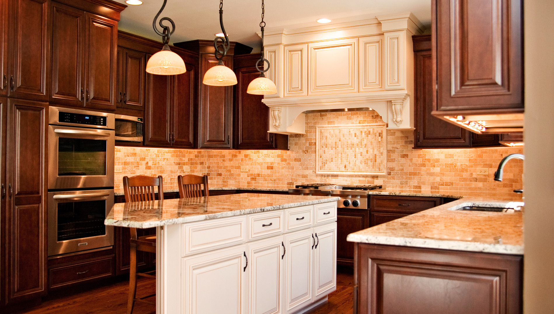 Wood Kitchen Cabinets With Painted Island A Blend Of White And Wood In Aurora