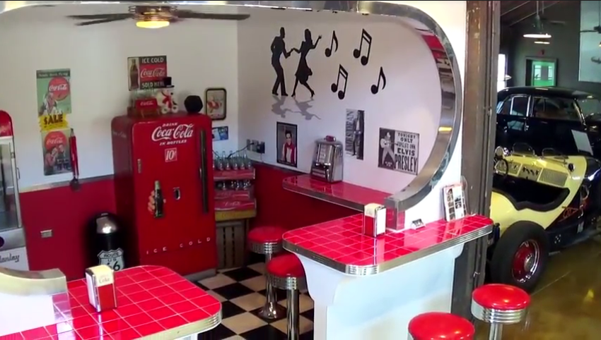 Motte's is filled with displays replicating era's throughout the years, such as this soda stand/juke joint.