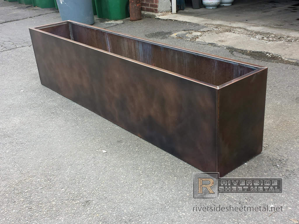 Metal Planter Boxes Custom Copper Flower Box With Dark Patina Finish