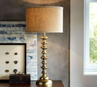 Spool Brass Table Lamp Base | Pottery Barn
