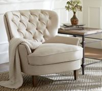 Cardiff Tufted Upholstered Armchair | Pottery Barn