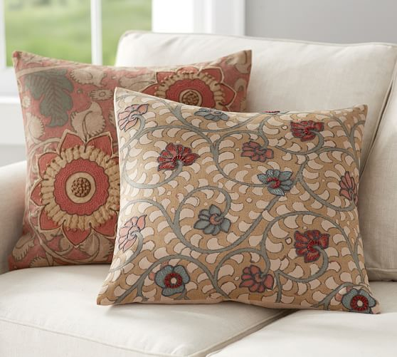 Geena Madhubani Embroidered Pillow Covers Pottery Barn