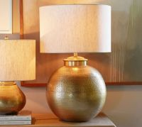 Nori Hammered Table Lamp Base - Brass | Pottery Barn
