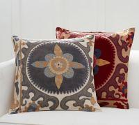 Suzani Appliqu Embroidered Pillow Cover   Pottery Barn