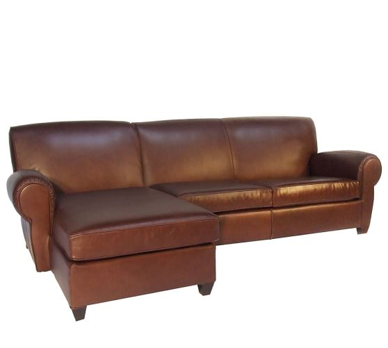 Manhattan Leather Sofa with Chaise Sectional