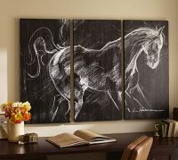 Planked Horse Triptych   Pottery Barn