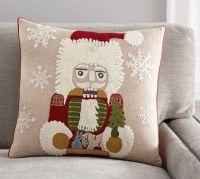 Nutcracker Crewel Embroidered Pillow Cover   Pottery Barn