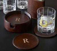 Saddle Leather Drink Coaster, Set of 6 | Pottery Barn