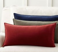 Washed Velvet Zip Lumbar Pillow Cover | Pottery Barn
