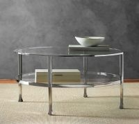 Tanner Round Coffee Table - Polished Nickel finish ...