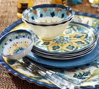 Cabo Melamine Dinnerware, Set of 4 - Blue | Pottery Barn