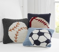 Sports Hook and Loop Decorative Pillows   Pottery Barn Kids
