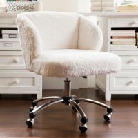Ivory Sherpa Faux-Fur Wingback Desk Chair | PBteen