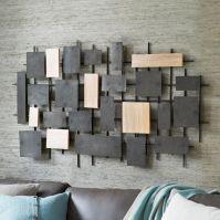 Hammered Metal + Wood Wall Art | west elm